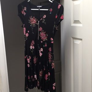 Express floral print zip front fit & flare dress